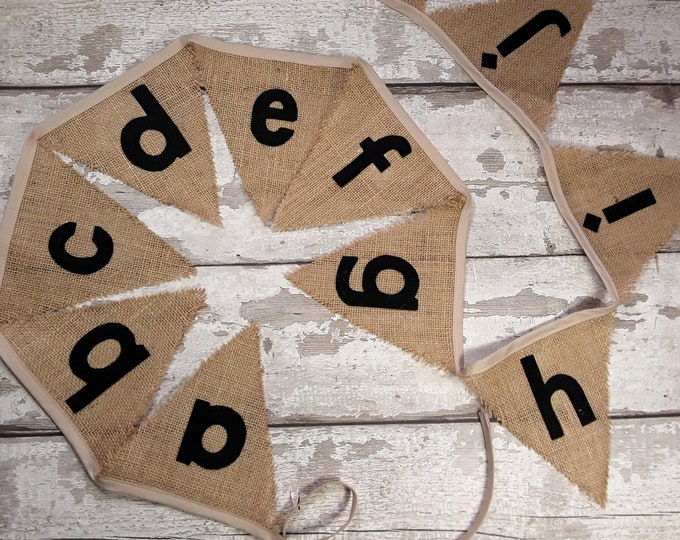 Alphabet A-Z Hessian Burlap reading phonic bunting with felt letters 26 flags 4.7 metres Farmhouse Classroom