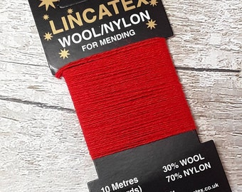 Darning Mending wool in Red 10 metres Eco