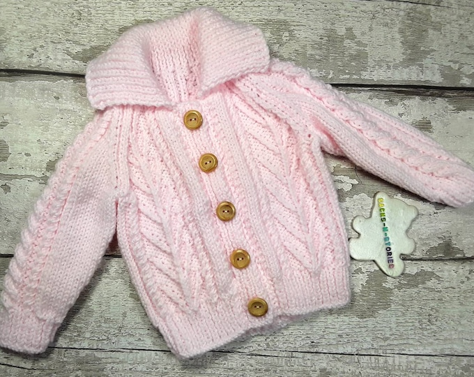 Handknit 6-12 months Soft Baby Aran Jacket Jumper Cardigan with collar wooden buttons in Pale Pink Traditional Cable Knitwear Baby Girl Gift