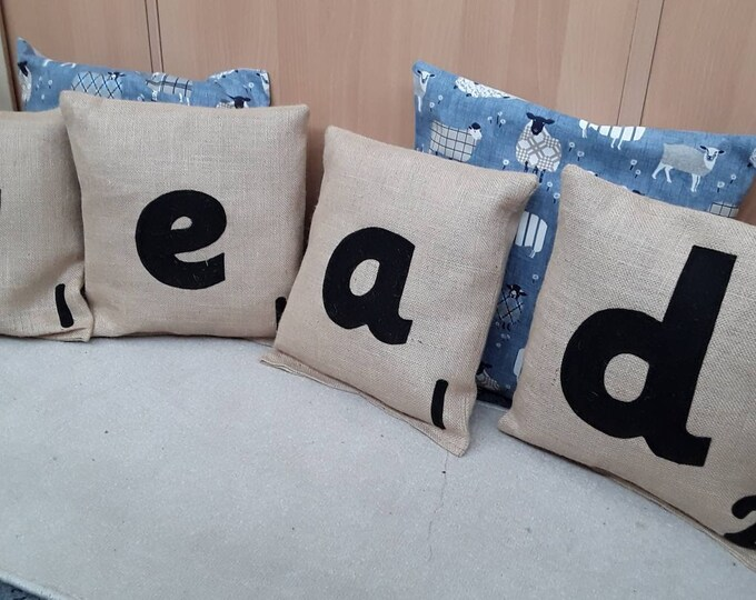 Scrabble Style Hessian cushion cover or filled and sealed with black felt applique letters or numbers for classroom or nursery