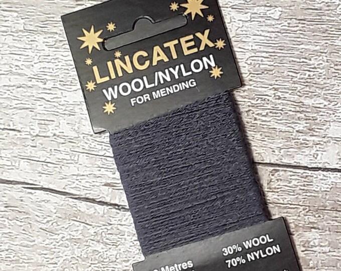 Darning Mending wool in Airforce 10 metres Blue Grey Ecofriendly Wool nylon mix