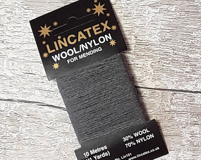 Darning Mending wool in Dark Grey 10 metres Grey Ecofriendly