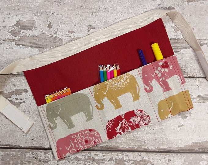 Elephant Red Linen Child Apron Tool Belt, Utility Apron, Pocket Apron, Role Playing Teacher, Carrying Mark Making equipment, STOCKING FILLER