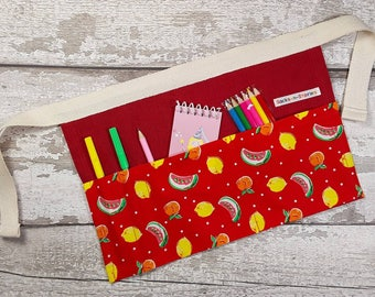 Childs Tool Belt, Utility Apron, Pocket Apron, Role Playing Teacher, Carrying Mark Making equipment, Red Linen and Fruit Party Bag Filler