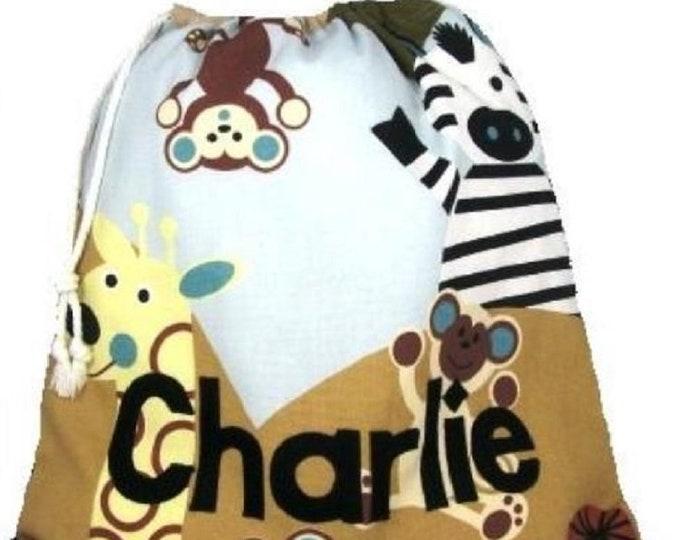 Drawstring Bag Personalised for Nursery Kindergarten School Cheeky Monkey Personalized in Felt