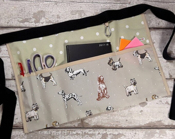 Teacher Apron DOG Breeds on Beige and choice of Polka Dot 5 or 3 pockets Vendor Pocket Apron Teacher Utility Belt Classroom apron RWI Apron