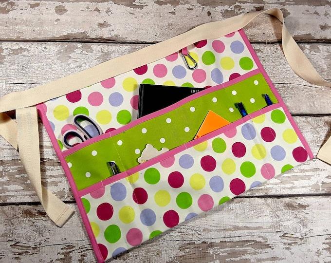 "Teacher Apron Vibrant Lime Polka Dot 9 pockets fits 10"" tablet Vendor apron Utility Belt"