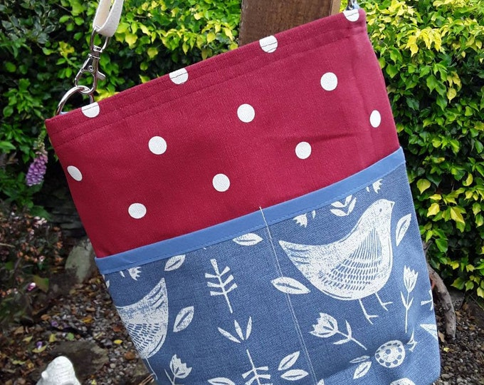 Teacher Bag NARVIK blue 100% cotton choice polka dot fabric 3 or 6 pockets Crossbody Bag  PPE sanitiser mask classroom supplies Teacher gift