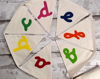 Alphabet A-Z Cotton Calico bunting with pre-cursive font letters 26 flags lined 5.5 metres