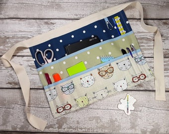 "Teacher Apron Custom Create your own CATS 9 pockets fits 10"" tablet Vendor apron Teacher Utility Belt"