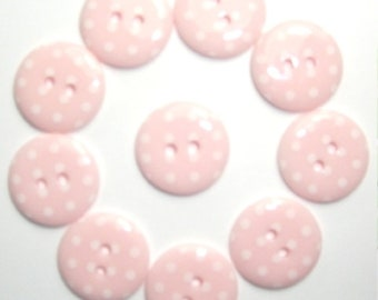 Buttons Baby Girl Pink Pale Pink Polka Dot Button x 10 pack of 10 ligne size 28 or 18mm 2 hole Two hole Plastic