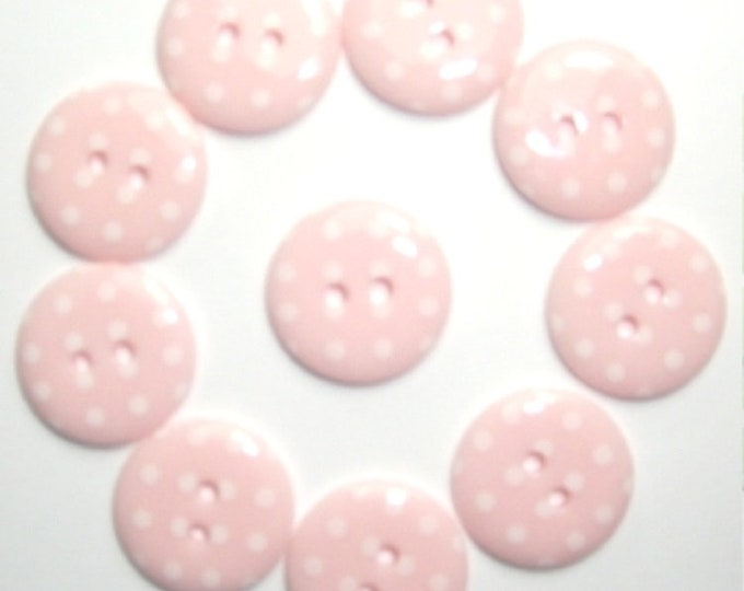 Baby Girl Pink Pale Pink Polka Dot Buttons pack of 10 ligne size 28 or 18mm