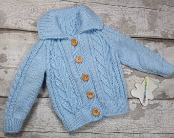 Handknitted 6-12 months Soft Baby Aran Jacket Cardigan Jumper collar wooden buttons in Pale Blue Traditional Cable Knitwear Baby Shower Gift