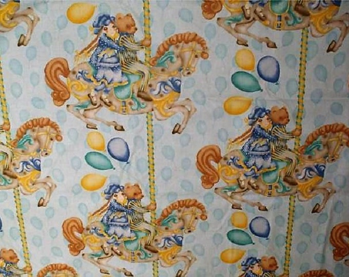 Funfair Merry go round , Fabric Laundry Bag, Storage Bag, Large Drawstring Bag, Nursery Bag, Utility Bag, Cottton Bag,