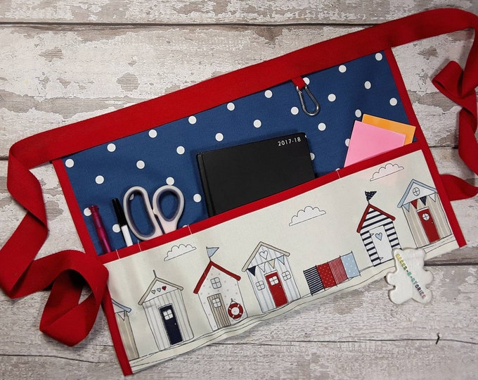 """Teacher Apron BEACH HUTS and Royal Blue Polka Dot 3 or 5 pockets which fit 10"""" tablet or 3 Pockets for RWI Vendor Apron Teacher Utility Belt"""