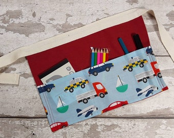 Child Cars Tool Belt, Utility Apron, Pocket Apron, Role Playing Teacher, Mark Making equipment Cars BIRTHDAY PARTY GIFT or bag filler