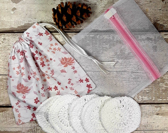 CHARITY SALE 5 Reusable Cotton Crochet face pads storage bag & wash bag Eco-friendly Makeup removal Scrubbies Facial cleansing wipes Gift O