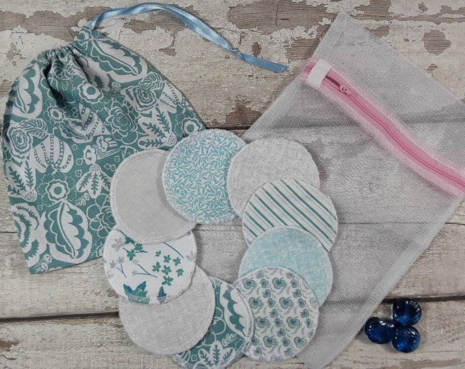 9 reusable face pads and storage bag & wash bag, Eco-friendly, Makeup Removal, Scrubbies, Facial cleansing wipes, Zero waste, Ethical gift C
