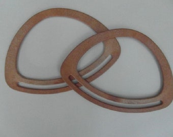 Oval Wood Effect Plastic Bag Handles Pair 20cm x 14cm