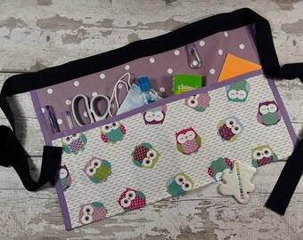 Teachers Apron Pocket Apron OWLS 100% cotton Choice of Polka Dot, Vendor Apron, RWI Apron, Utility Belt Half Waist 3 or 5 pockets