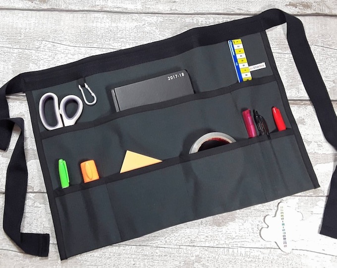 "Apron for Teacher Half Waist 9 pockets Plain Black Fits 10"" Tablet Vendor Apron Teacher Utility Belt"
