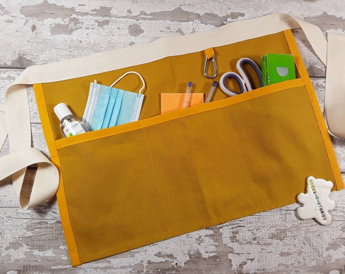 Plain Mustard Teacher Apron with 3 or 5 pockets suitable for Sanitiser Tissues Wipes Vendor apron Teacher Pocket apron