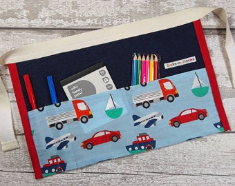 Childs Denim Cars Tool Belt, Utility Apron, Pocket Apron, Role Playing Teacher, Mark Making equipment Cars BIRTHDAY PARTY GIFT or bag filler