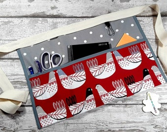 Teacher Apron Scandi style chickens with smoke grey gray polka dot 3 or 5 pocket Vendor apron Teacher Utility Belt Pocket apron Teacher gift