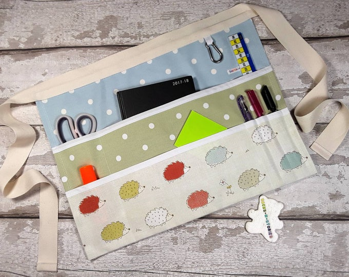 "Custom Create your own Teacher Apron HEDGEHOG 9 pockets fits 10"" tablet Vendor Apron Teacher Utility Belt"