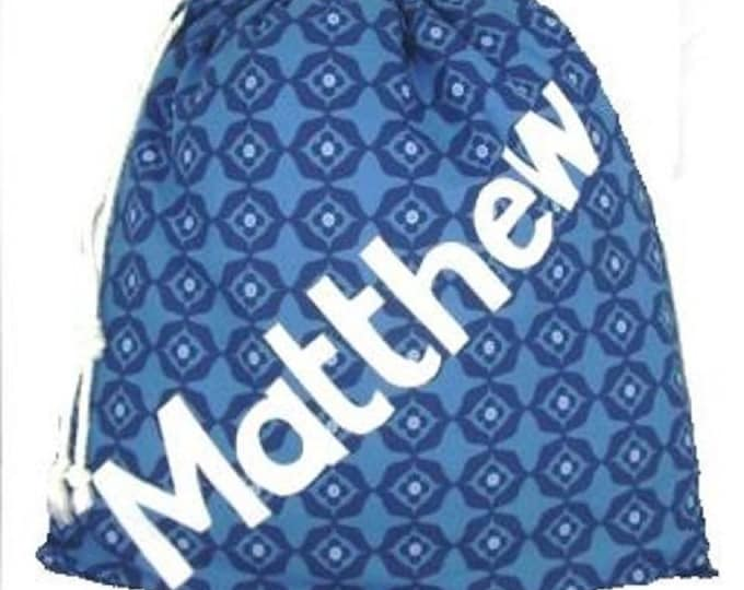 Blue Personalised Shoe Bag, Drawstring Bag, School Bag, Pump Bag, Gym Bag, Nursery Bag, Personalized with Appliqued Felt