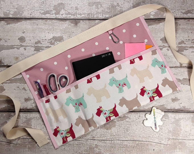 Teacher Apron HIGHLAND TERRIER Scottie Dog Choice of Polka Dot and 5 pockets or 3 pockets Vendor Apron Teacher Utility Belt