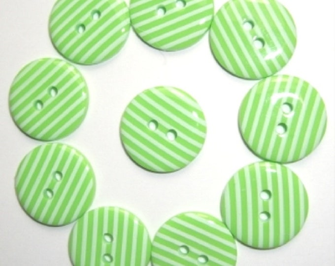 Lime Green with White Candy Stripe Buttons pack of 10 ligne size 28 or 18mm