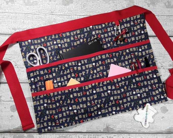 "HAPPY CHRISTMAS Teacher Apron Vendor Apron Garden Apron Teacher Utility Belt Half Waist 9 pockets fits 10"" tablet"