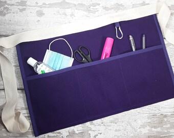 Plain Purple Waist Apron with 3 or 5 pockets suitable for Sanitiser Tissues Wipes, Vendor apron, Teacher apron, Pocket apron, RWI apron