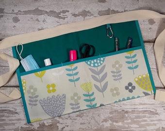 Teacher Apron 5 or 3 Pockets Teal Flowers choice of fabric Vendor Apron, RWI Apron, Garden Apron, Utility Belt, Half Waist, Classroom apron,