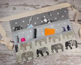 """Teachers Apron, Grey ELEPHANT with grey polka dots, 9 pockets fits 10"""" tablet, Vendor apron, Utility Belt, Elephants"""