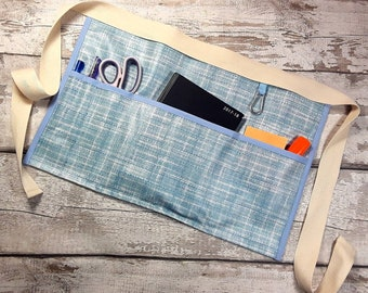 """Teacher Apron LIGHT BLUE OilCloth PVC Vendor Apron Garden Apron Utility Belt Half Waist 5 pockets fits 10"""" tablet"""