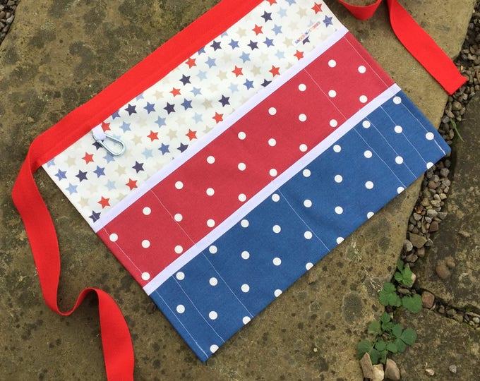 "Teacher Apron Custom Create your own style GALAXY STARS 9 pockets fits 10"" tablet or A5 notepad Vendor apron Teacher Utility Belt"