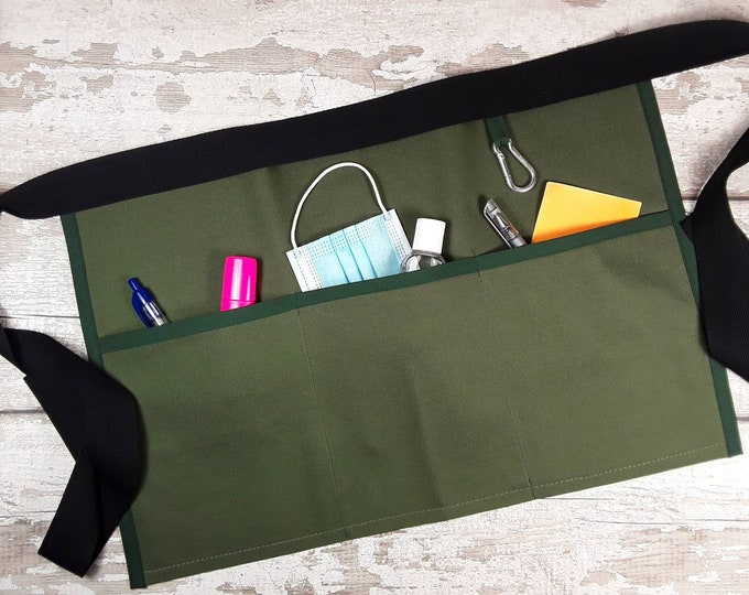 Plain Moss Green, Teacher Apron with 3 or 5 pockets suitable for Sanitiser Tissues Wipes Vendor apron, Pocket apron, Waist apron, RWI apron
