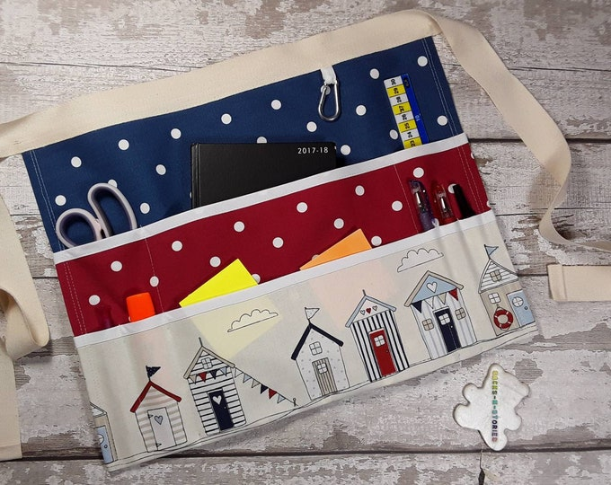 "Custom Create your own Teachers Apron BEACH HUT NAUTICAL 9 pockets fits 10"" tablet Utility Belt Vendor Apron"