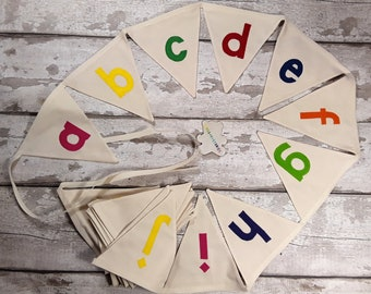 Alphabet A-Z Cotton Calico bunting with print letters 26 flags lined 5.5 metres