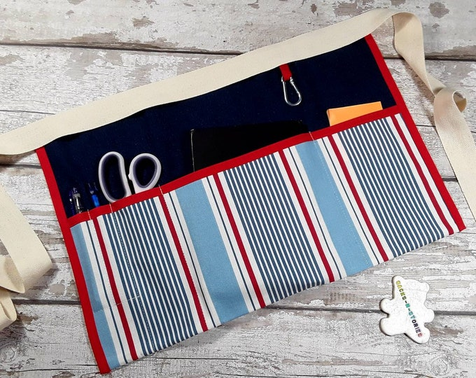 DENIM Teacher Apron with striped ticking fabric pocket Vendor apron Teacher Utility Belt Pocket apron Teacher Christmas gift Ready to Post