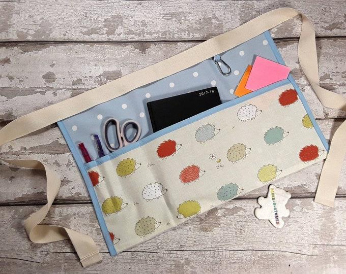 "Teacher Apron HEDGEHOG and choice of Polka Dot 5 pockets fits 10"" tablet Vendor Apron Teacher Utility Belt"