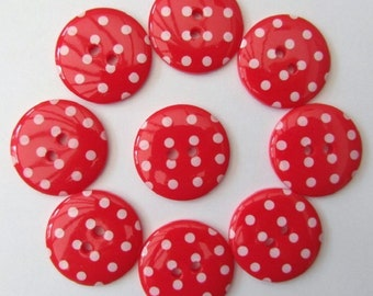 Buttons Bright Red Polka Dot Button x 10 pack of 10 ligne size 28 or 18mm 2 hole Two hole Plastic