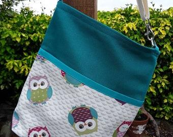 Teacher Bag OWLS with a choice of polka dot and plain fabric 3 or 6 pockets Crossbody Bag PPE sanitiser mask classroom supplies Teacher gift
