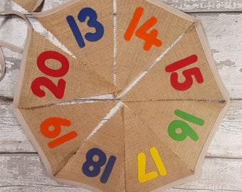 Number Bunting 1-20 Hessian Burlap bunting with felt letters 20 flags 4 metres Farmhouse Classroom