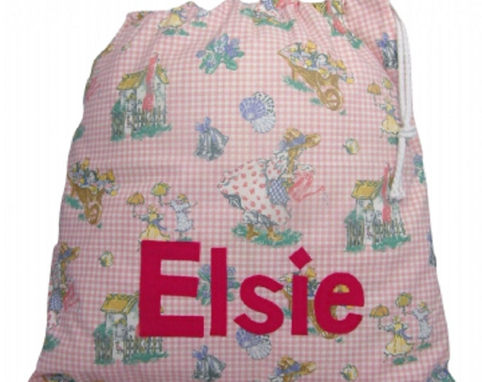 Mary Mary Pink Gingham Vintage Laura Ashley Personalized Drawstring bag Nursery Diaper Nappy Kindergarten Personalised with Appliqued felt