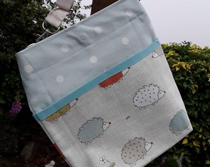 Teacher Bag HEDGEHOGS with choice of polka dot fabric 3 or 6 pockets Crossbody Bag for PPE sanitiser mask classroom supplies Teacher gift
