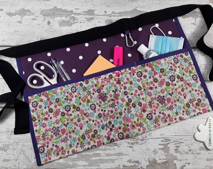 Teacher Apron Pocket Apron 100% cotton Dark Purple Polka Dot, Vendor Apron, RWI Apron, Utility Belt Half Waist apron 3 pockets READY to POST