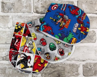 3 Superhero burp cloths Eco friendly, Organic, Cotton, Comic Book, Nerd Baby, Christmas baby, Alternative Parent Gift, Infant, Nursery D